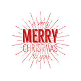 Merry Christmas to you typography label. Retro photo overlay, badge. Vector holiday lettering illustration. Xmas Royalty Free Stock Photography