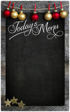 Merry Christmas Today`s Restaurant Menu Wooden Blackboard Copy S Royalty Free Stock Photography