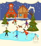 Merry Christmas town celebration, people having fun outdoors stock illustration