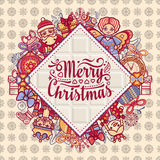 Merry Christmas toys. Greeting card. Christmas and New Year design elements. Balls, Santa Claus, socks, gift box. Christmas tree, Reindeer. Holiday text Royalty Free Stock Photo