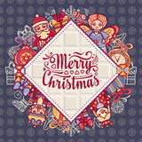 Merry Christmas toys. Greeting card. Christmas and New Year design elements. Balls, Santa Claus, socks, gift box. Christmas tree, Reindeer. Holiday text Stock Photos