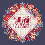 Merry Christmas toys. Greeting card. Christmas and New Year design elements. Balls, Santa Claus, socks, gift box. Christmas tree, Reindeer. Holiday text Royalty Free Stock Images