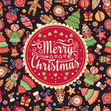 Merry Christmas toys. Greeting card. Stock Photo