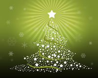 Merry Christmas Tree. On Green Background With Snowflakes Royalty Free Stock Images