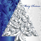 Merry Christmas Tree. Illustration vector background blue and silver Stock Photos