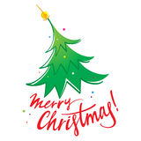 Merry Christmas tree. New year winter holiday Stock Photos