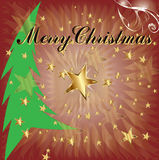 Merry Christmas and tree. Royalty Free Stock Photo