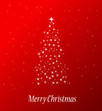Merry christmas tree. Beautiful merry christmas tree on red background Stock Images