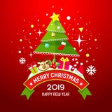 Merry Christmas Tree And Gift Box Happy New Year Design Stock Photography