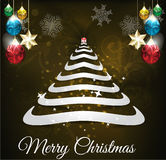 Merry Christmas Tree Background with balls Royalty Free Stock Photo