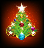 Merry Christmas tree background with floral Royalty Free Stock Images