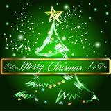 Merry Christmas tree background. Stock Images