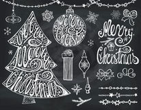 Merry Christmas tree,balls.Lettering,decor.Chalkboard. Christmas tree,balls and lettering.Hand drawn decotation,garlands,bow,snowflakes and handwriting quotes Royalty Free Stock Photo