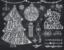 Merry Christmas tree,balls.Lettering,decor.Chalkboard Royalty Free Stock Photo