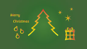 Merry christmas - tree, balls, stars and gift Royalty Free Stock Photos
