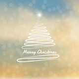 Merry Christmas tree with bokeh and lens flare pattern in soft winter background. Merry Christmas tree with bokeh and lens flare pattern in soft winter sky vector illustration