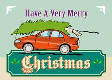 Merry Christmas Tree Car Automobile. Greeting card poster illustration showing a christmas tree on top of vintage station wagon automobile with gifts presents in Stock Photography