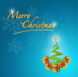 Merry christmas tree card illustration Stock Images