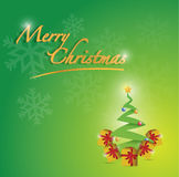 Merry christmas tree card illustration Royalty Free Stock Images