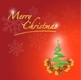 Merry christmas tree card illustration Stock Image