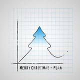 Merry Christmas tree on checkers plan graf, improve gifts on chr. Istmas day, gift card  illustration Royalty Free Stock Images