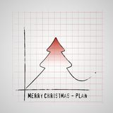 Merry Christmas tree on checkers plan graf, improve gifts on chr. Istmas day, gift card  illustration Royalty Free Stock Photo