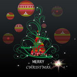 Merry Christmas. Tree of colored native with writing wishes and decorations Royalty Free Stock Image