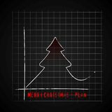 Merry Christmas tree on dark checkers plan graf, improve gifts o. N christmas day, gift card  illustration Royalty Free Stock Images