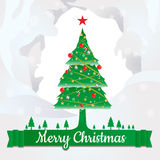 Merry Christmas tree and decorate design with text Stock Photos