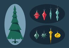 Merry Christmas. Tree with decorations. Cartoon vector illustration Royalty Free Stock Photo