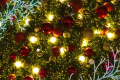 Merry Christmas tree decorations of various seasonal colors. Merry Christmas tree decorations of various beautiful, festive, seasonal colors royalty free stock photo