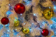 Merry Christmas tree decorations of various seasonal colors. Merry Christmas tree decorations of various beautiful, festive, seasonal colors royalty free stock images