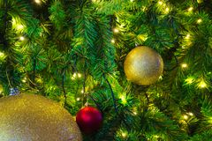 Merry Christmas tree decorations of various seasonal colors. Merry Christmas tree decorations of various beautiful, festive, seasonal colors stock images