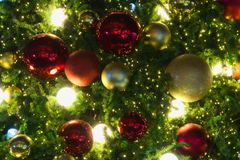Merry Christmas tree decorations of various seasonal colors. Merry Christmas tree decorations of various beautiful, festive, seasonal colors stock photo