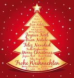 Merry christmas tree different languages. Stock Photography