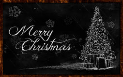 Merry Christmas tree Drawing on blackboard Royalty Free Stock Photos