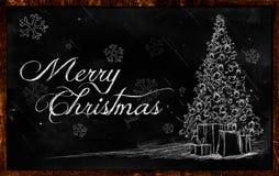 Merry Christmas tree Drawing on blackboard. Greeting card Royalty Free Stock Photos