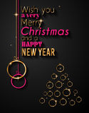 Merry Christmas Tree Flyer with Golden elegant baubles and glowing light stars Stock Photo