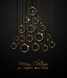 Merry Christmas Tree Flyer with Golden elegant baubles and glowing light stars Royalty Free Stock Photos