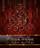 Merry Christmas Tree Flyer with Golden elegant baubles and glowing light stars Stock Photos
