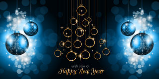 Merry Christmas Tree Flyer with Golden elegant baubles and glowing light stars Stock Images