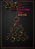 Merry Christmas Tree Flyer with Golden elegant baubles and glowing light stars Royalty Free Stock Images