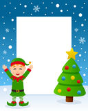 Merry Christmas Tree Frame - Green Elf. Christmas vertical photo frame with a Christmas tree and a happy green elf smiling in a snowy scene. Eps file available Royalty Free Stock Photography