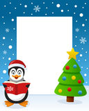 Merry Christmas Tree Frame - Penguin. Christmas vertical photo frame with a Christmas tree and a happy penguin singing and holding a book in a snowy scene. Eps Stock Photography