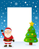 Merry Christmas Tree Frame - Santa Claus. Christmas vertical photo frame with a Christmas tree and a happy Santa Claus smiling in a snowy scene. Eps file Stock Images