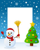 Merry Christmas Tree Frame - Snowman. Christmas vertical photo frame with a Christmas tree and a happy snowman smiling and holding a broom in a snowy scene. Eps Stock Photography