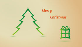 Merry christmas - tree and gift Royalty Free Stock Photo