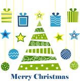 Merry christmas, tree, gifts, holiday, new year, threads, balls, toys royalty free illustration