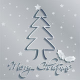 Merry christmas tree gray background Royalty Free Stock Photography