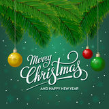 Merry Christmas Tree Green. Merry Christmas and Happy New Year greeting card. Vector illustration Stock Images